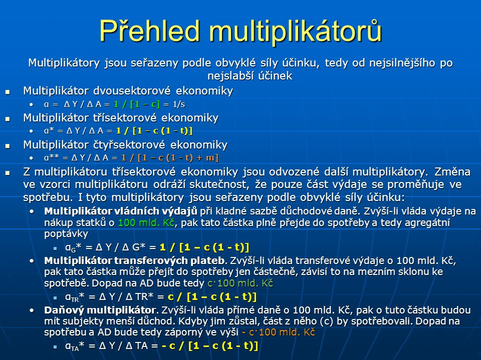 Přehled multiplikátorů