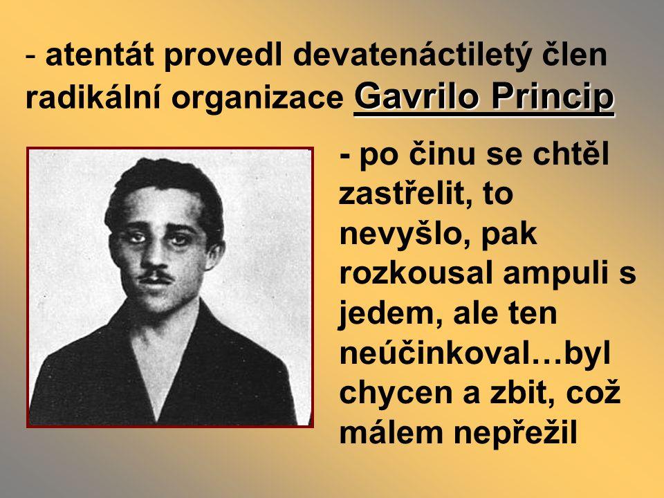 - atentát provedl devatenáctiletý člen radikální organizace Gavrilo Princip