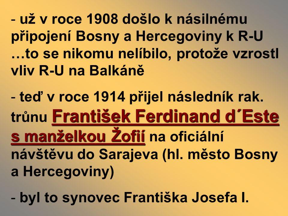 už v roce 1908 došlo k násilnému připojení Bosny a Hercegoviny k R-U …to se nikomu nelíbilo, protože vzrostl vliv R-U na Balkáně