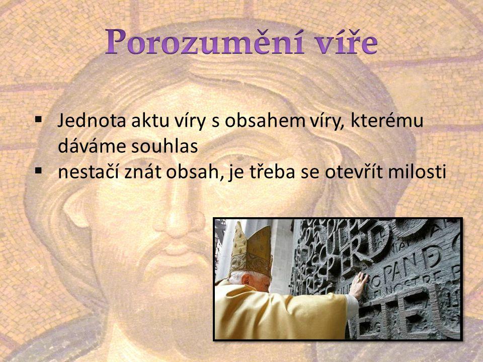 Porozumění víře Jednota aktu víry s obsahem víry, kterému dáváme souhlas.