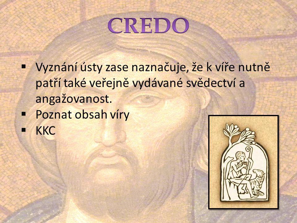 CREDO Vyznání ústy zase naznačuje, že k víře nutně patří také veřejně vydávané svědectví a angažovanost.