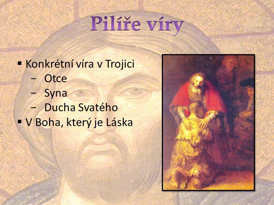 Pilíře víry Konkrétní víra v Trojici Otce Syna Ducha Svatého
