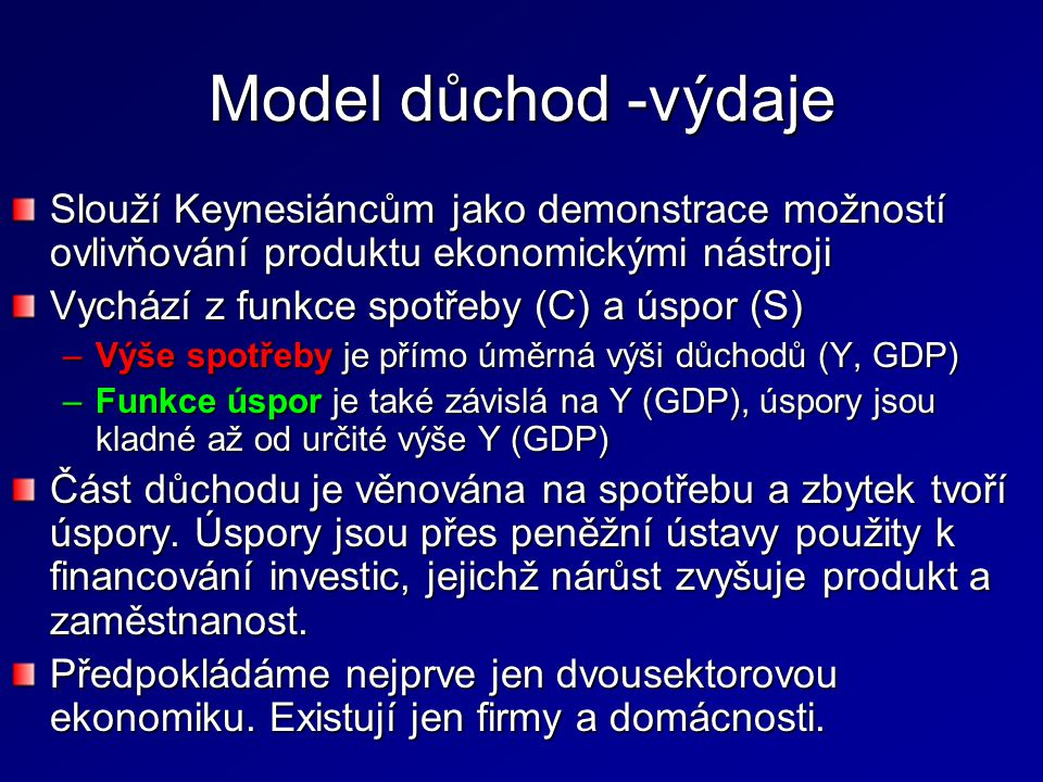Model důchod -výdaje Slouží Keynesiáncům jako demonstrace možností ovlivňování produktu ekonomickými nástroji.