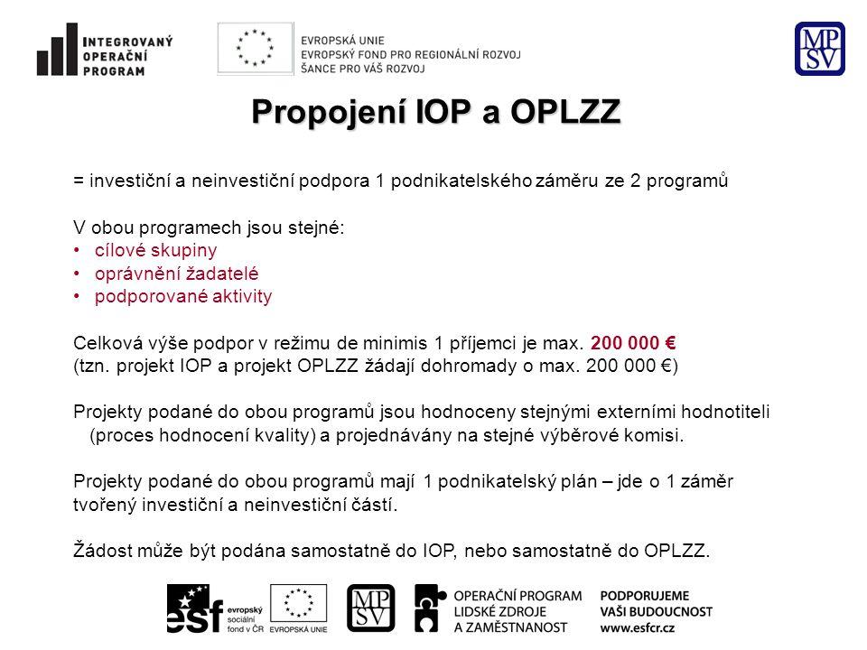 Propojení IOP a OPLZZ = investiční a neinvestiční podpora 1 podnikatelského záměru ze 2 programů. V obou programech jsou stejné: