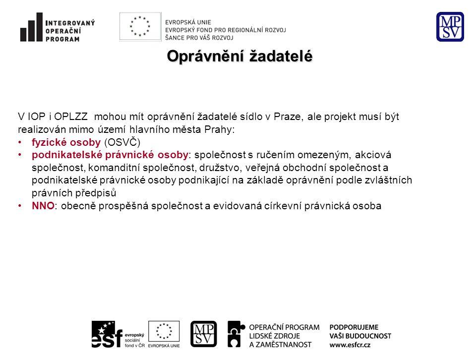 Oprávnění žadatelé V IOP i OPLZZ mohou mít oprávnění žadatelé sídlo v Praze, ale projekt musí být.