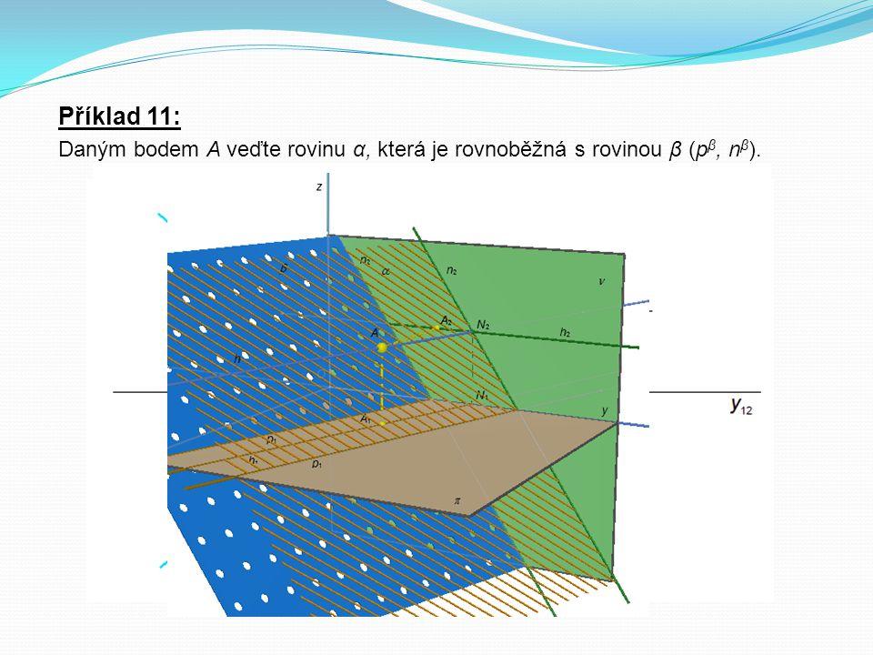 Příklad 11: Daným bodem A veďte rovinu α, která je rovnoběžná s rovinou β (pβ, nβ).