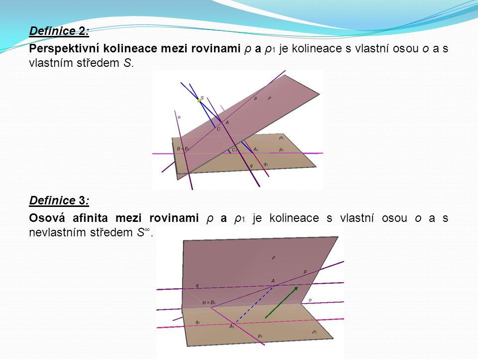 Definice 2: Perspektivní kolineace mezi rovinami ρ a ρ1 je kolineace s vlastní osou o a s vlastním středem S.