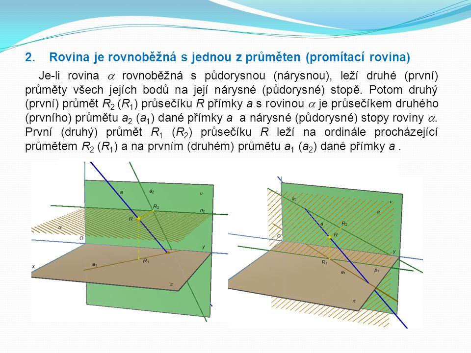 2. Rovina je rovnoběžná s jednou z průměten (promítací rovina)