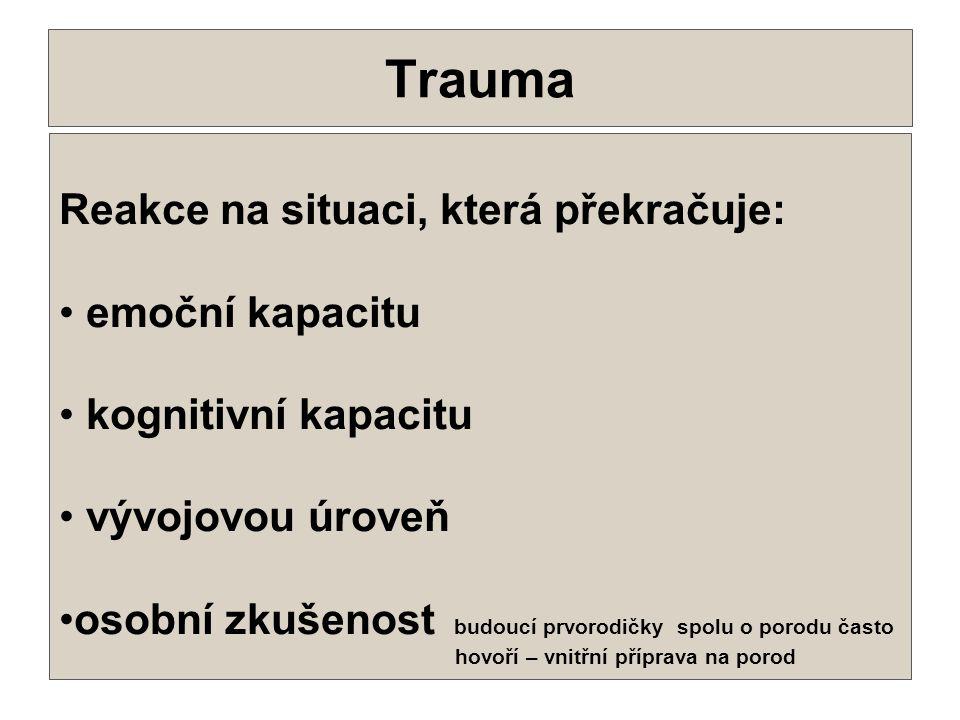 Trauma . Reakce na situaci, která překračuje: emoční kapacitu
