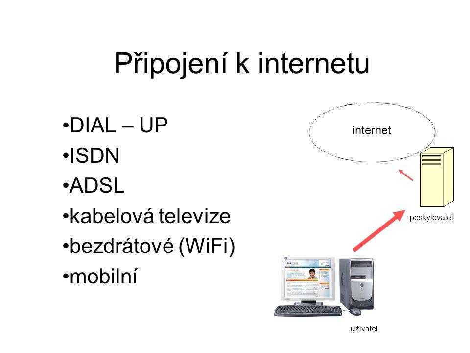 DIAL – UP ISDN ADSL kabelová televize bezdrátové (WiFi) mobilní
