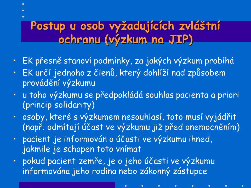 Postup u osob vyžadujících zvláštní ochranu (výzkum na JIP)