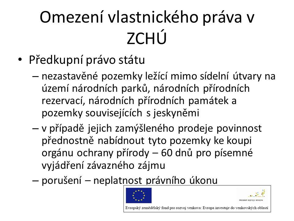 Omezení vlastnického práva v ZCHÚ