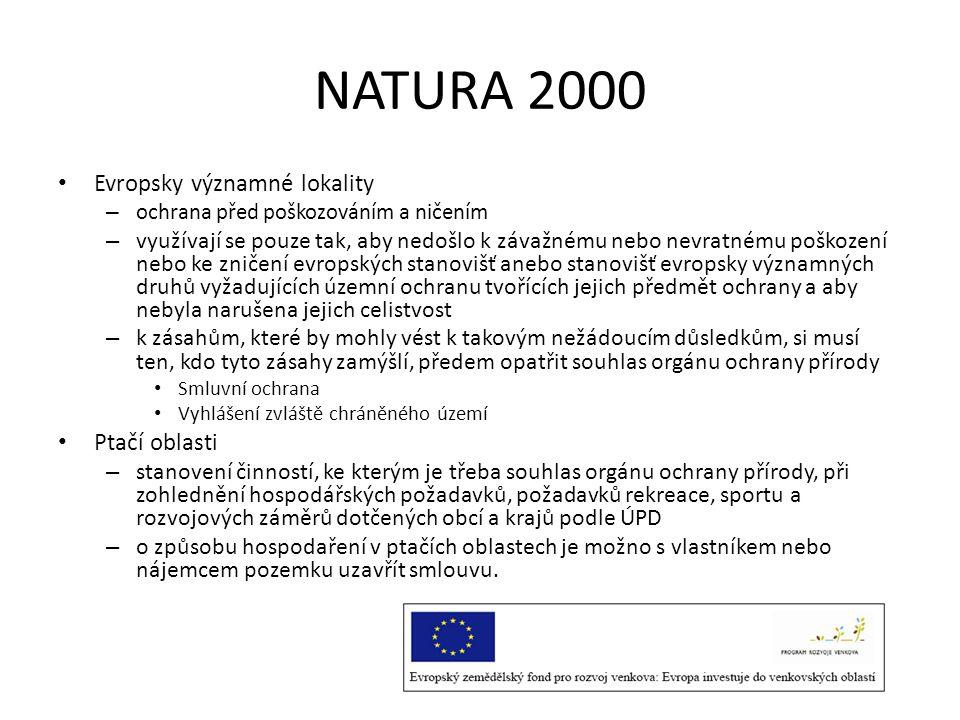 NATURA 2000 Evropsky významné lokality Ptačí oblasti