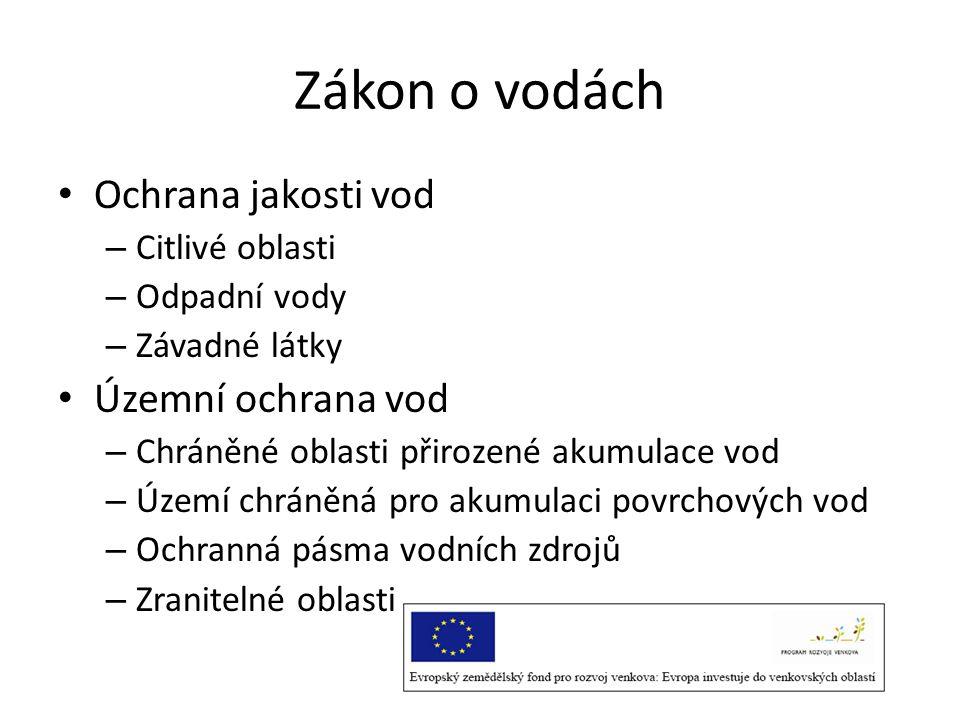 Zákon o vodách Ochrana jakosti vod Územní ochrana vod Citlivé oblasti