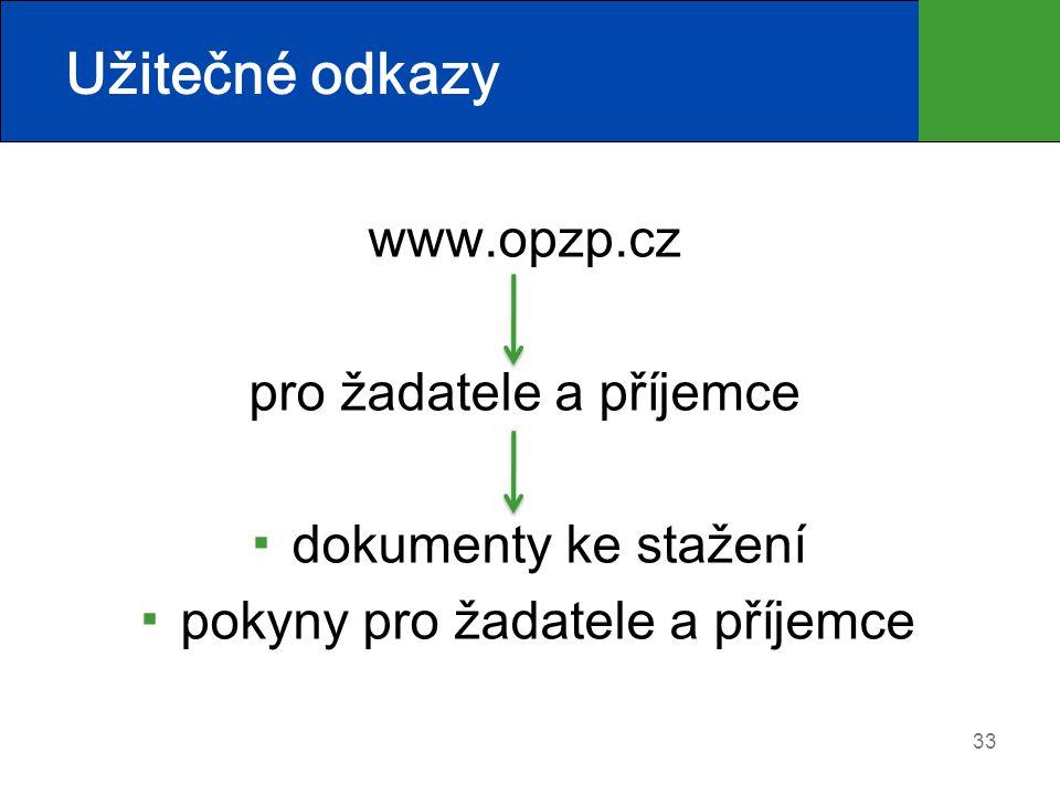 Užitečné odkazy www.opzp.cz pro žadatele a příjemce