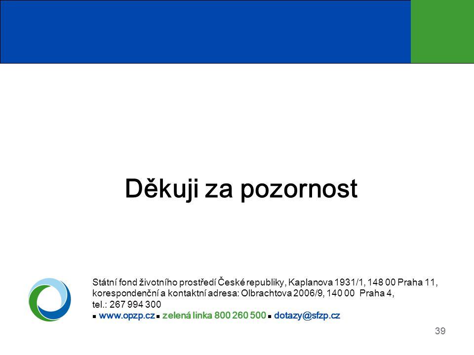 Děkuji za pozornost Státní fond životního prostředí České republiky, Kaplanova 1931/1, 148 00 Praha 11,