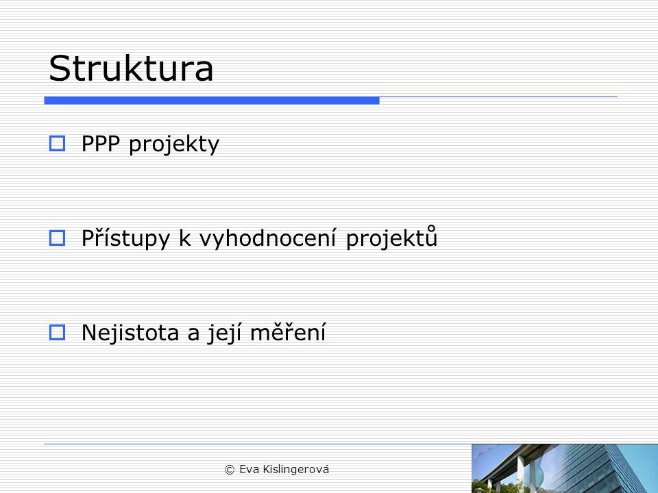 Struktura PPP projekty Přístupy k vyhodnocení projektů