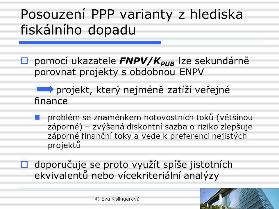 Posouzení PPP varianty z hlediska fiskálního dopadu