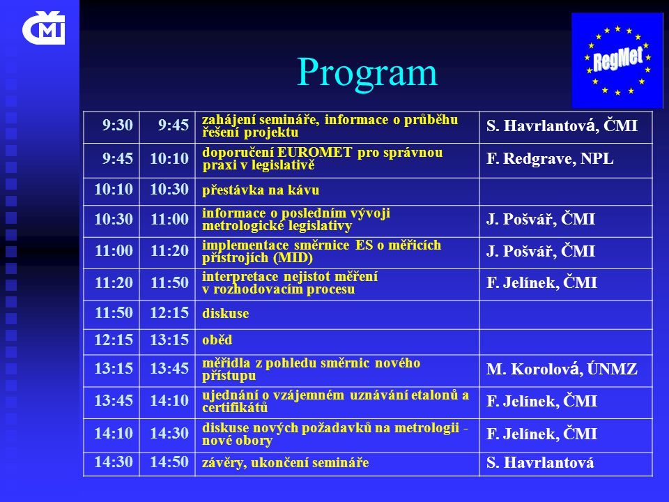 Program 9:30 9:45 S. Havrlantová, ČMI 10:10 F. Redgrave, NPL 10:30