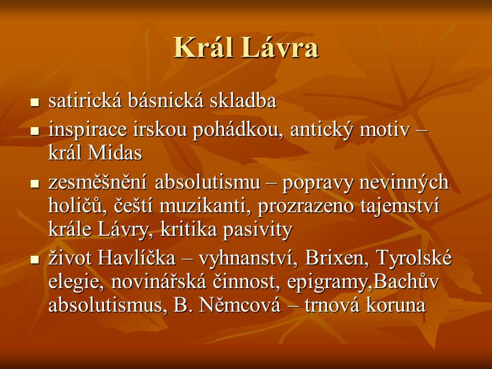 Král Lávra satirická básnická skladba
