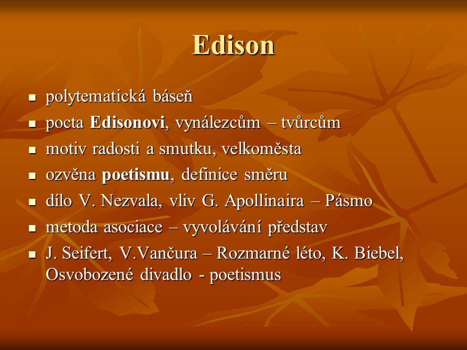 Edison polytematická báseň pocta Edisonovi, vynálezcům – tvůrcům