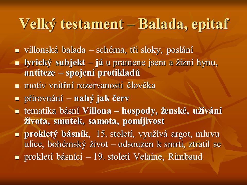 Velký testament – Balada, epitaf