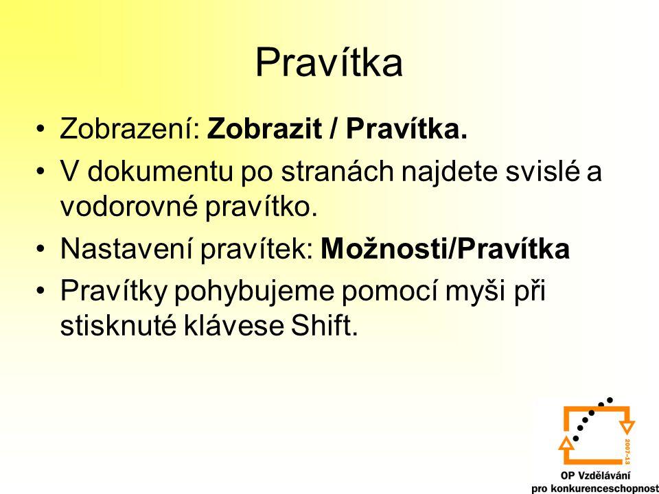 Pravítka Zobrazení: Zobrazit / Pravítka.