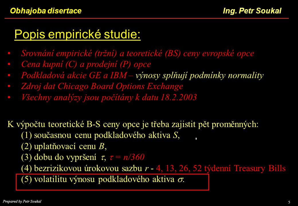 Popis empirické studie:
