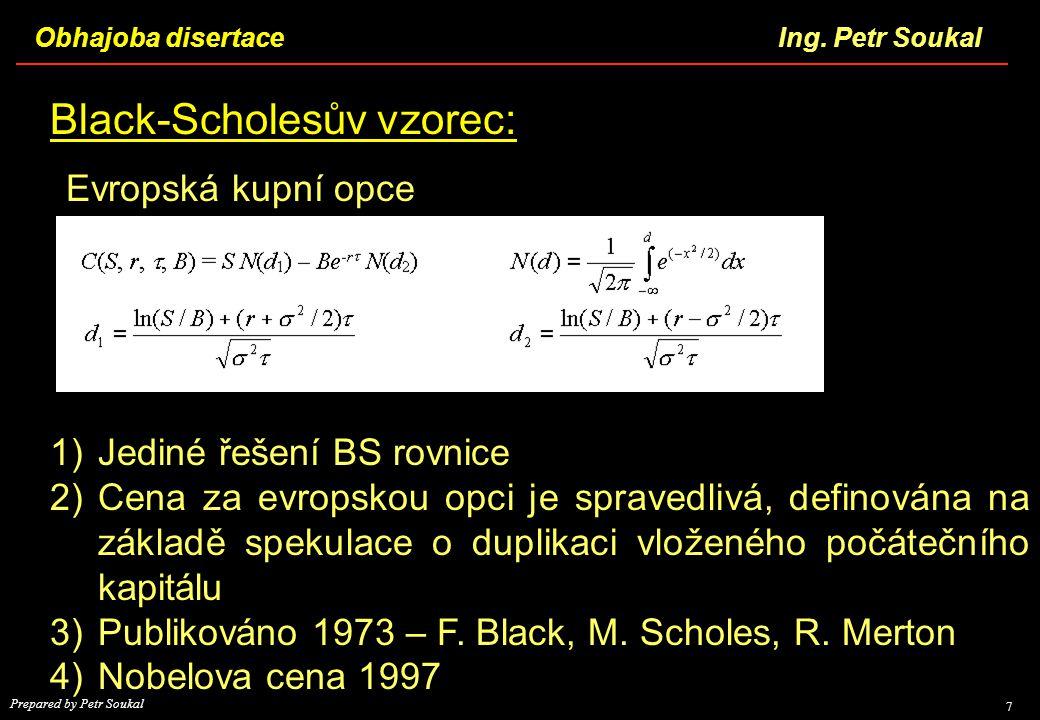 Black-Scholesův vzorec: