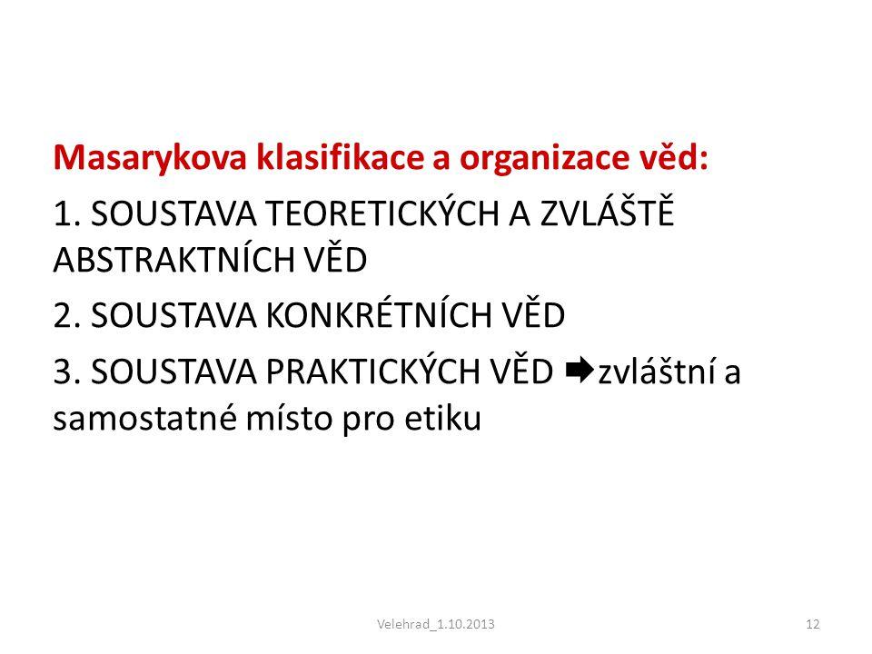 Masarykova klasifikace a organizace věd: 1