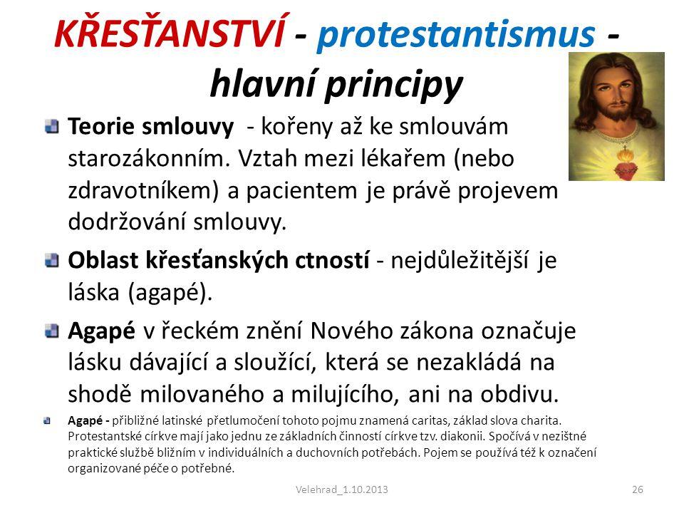 KŘESŤANSTVÍ - protestantismus - hlavní principy