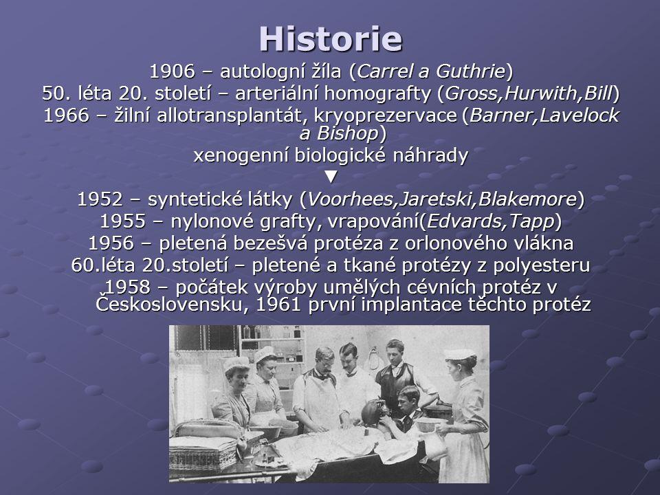 Historie 1906 – autologní žíla (Carrel a Guthrie)