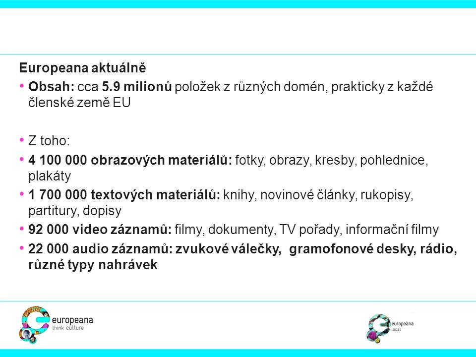 Europeana aktuálně Obsah: cca 5.9 milionů položek z různých domén, prakticky z každé členské země EU.