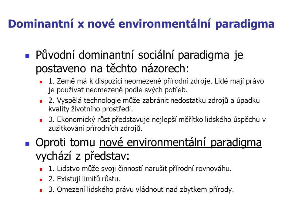 Dominantní x nové environmentální paradigma