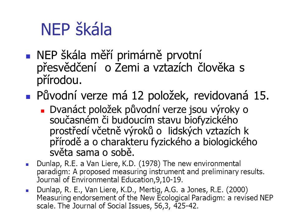 NEP škála NEP škála měří primárně prvotní přesvědčení o Zemi a vztazích člověka s přírodou. Původní verze má 12 položek, revidovaná 15.