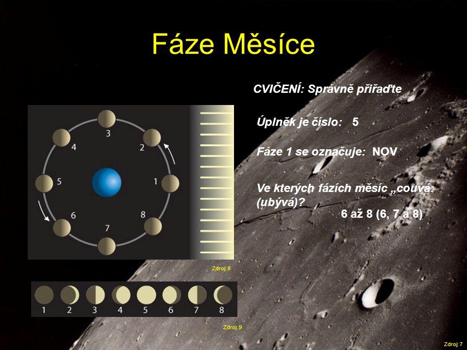 Fáze Měsíce CVIČENÍ: Správně přiřaďte Úplněk je číslo: 5