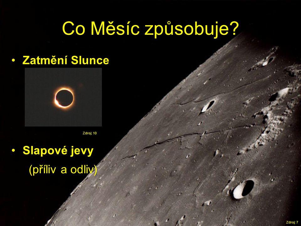 Co Měsíc způsobuje Zatmění Slunce Slapové jevy (příliv a odliv)