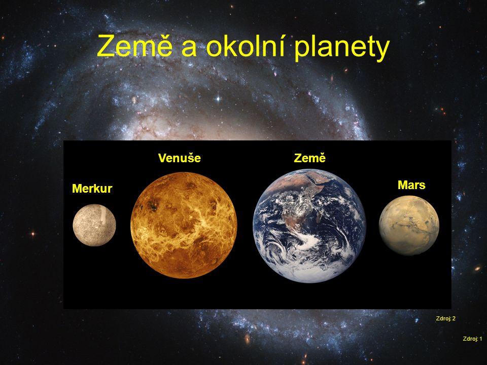 Země a okolní planety Venuše Země Mars Merkur Zdroj: 2 Zdroj: 1