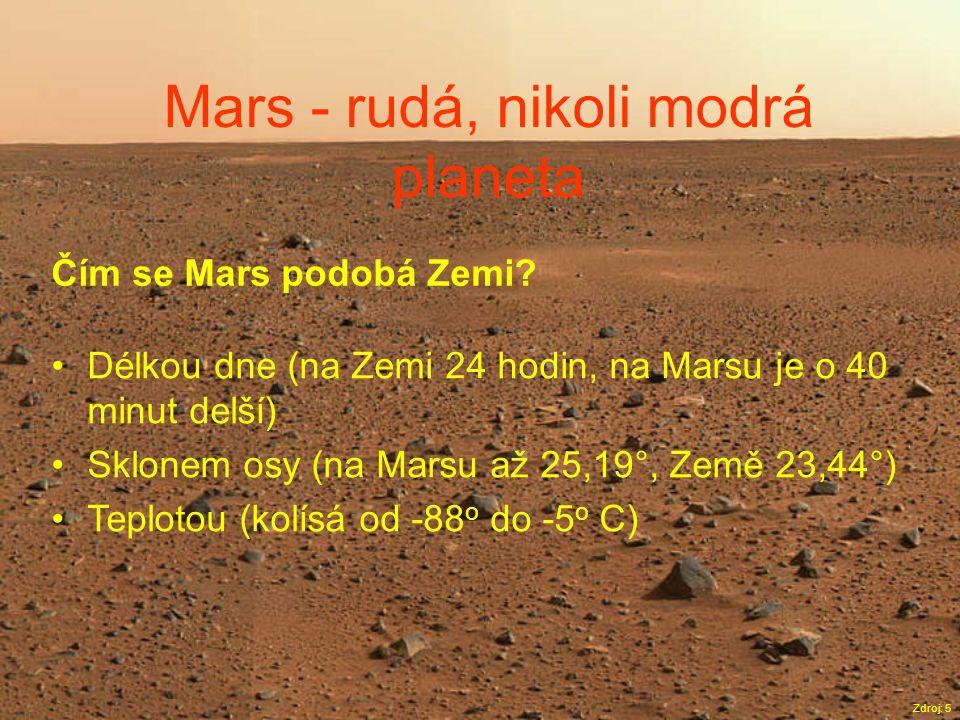 Mars - rudá, nikoli modrá planeta