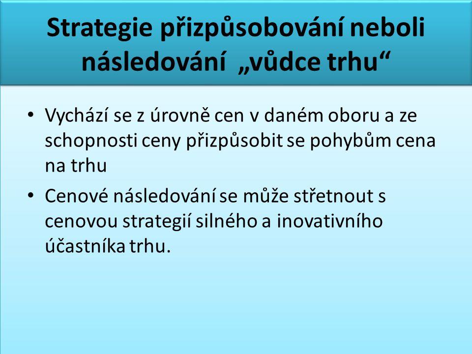 """Strategie přizpůsobování neboli následování """"vůdce trhu"""