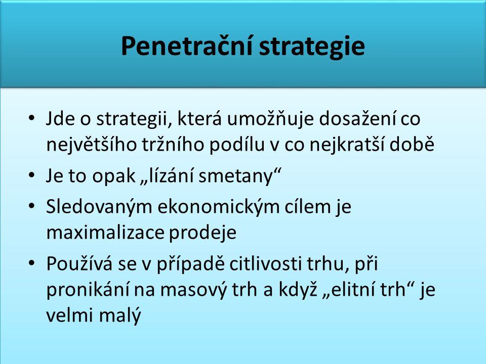 Penetrační strategie Jde o strategii, která umožňuje dosažení co největšího tržního podílu v co nejkratší době.