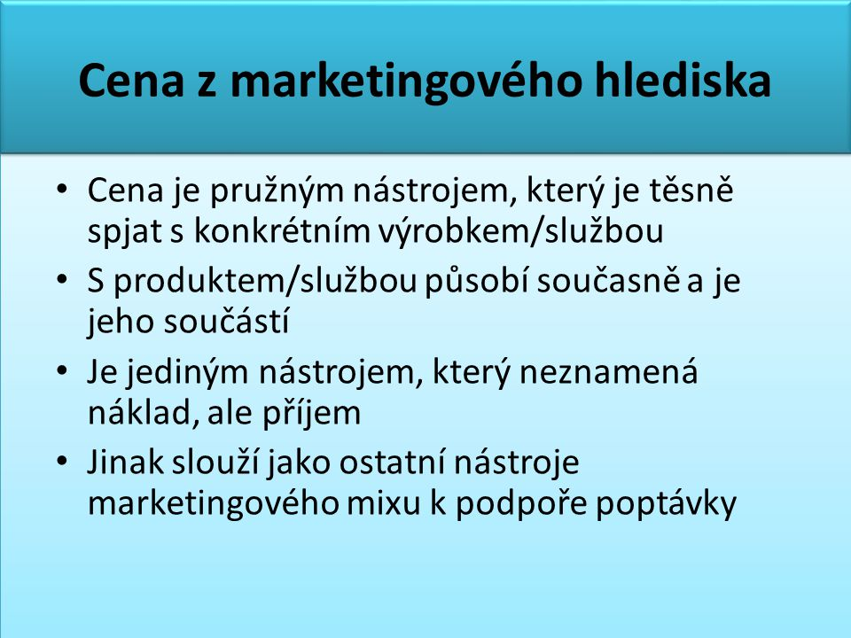 Cena z marketingového hlediska