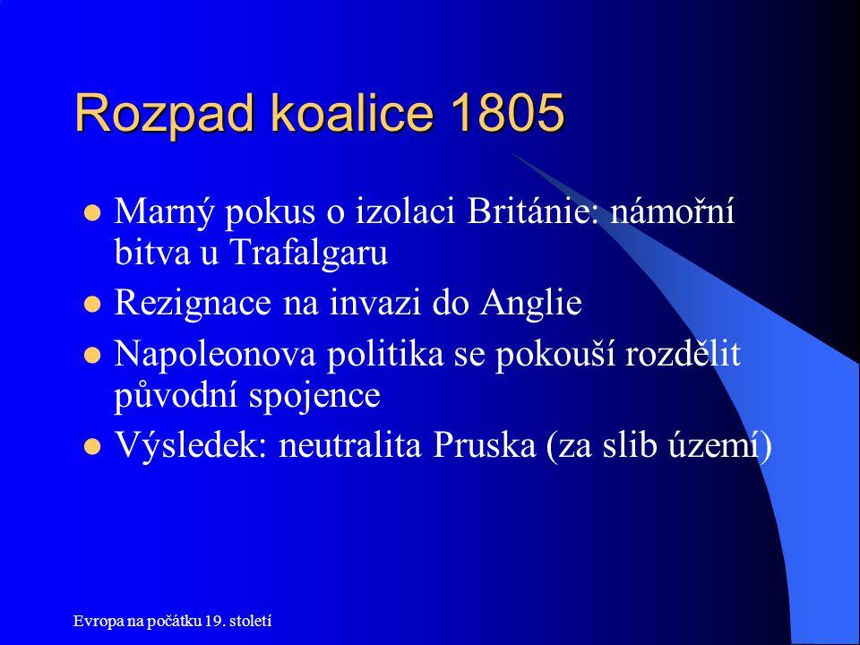 Rozpad koalice 1805 Marný pokus o izolaci Británie: námořní bitva u Trafalgaru. Rezignace na invazi do Anglie.