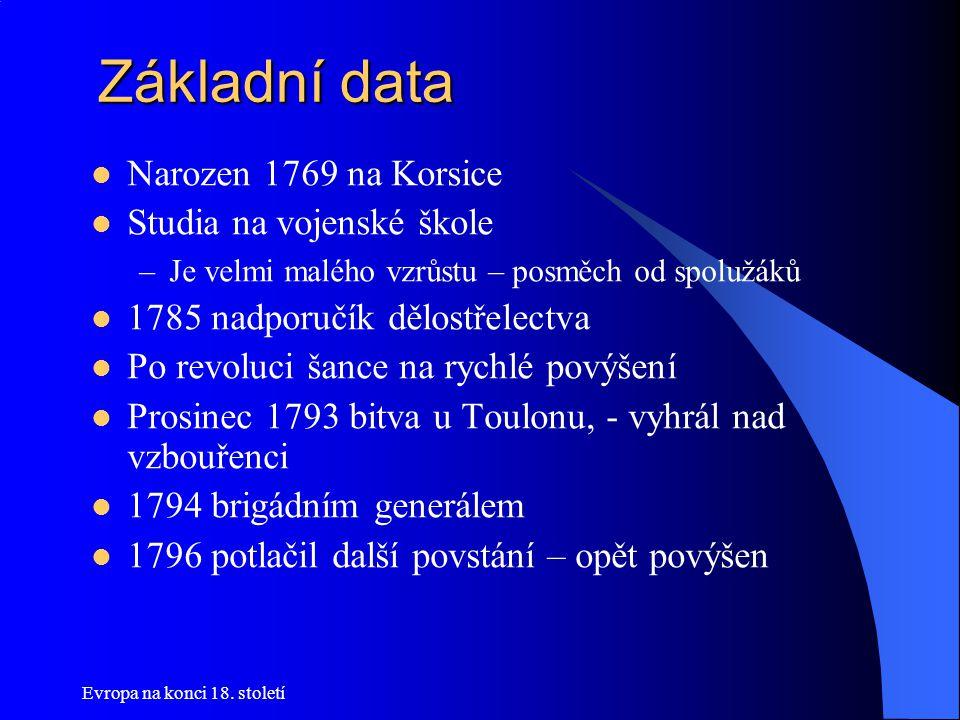 Základní data Narozen 1769 na Korsice Studia na vojenské škole
