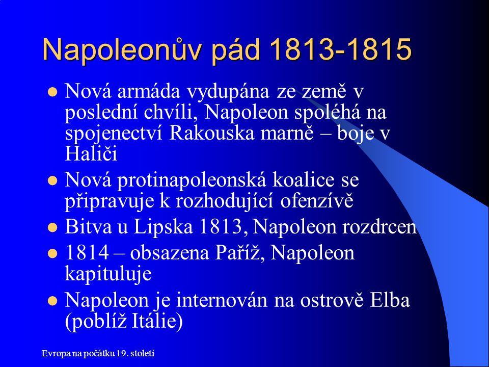 Napoleonův pád 1813-1815 Nová armáda vydupána ze země v poslední chvíli, Napoleon spoléhá na spojenectví Rakouska marně – boje v Haliči.
