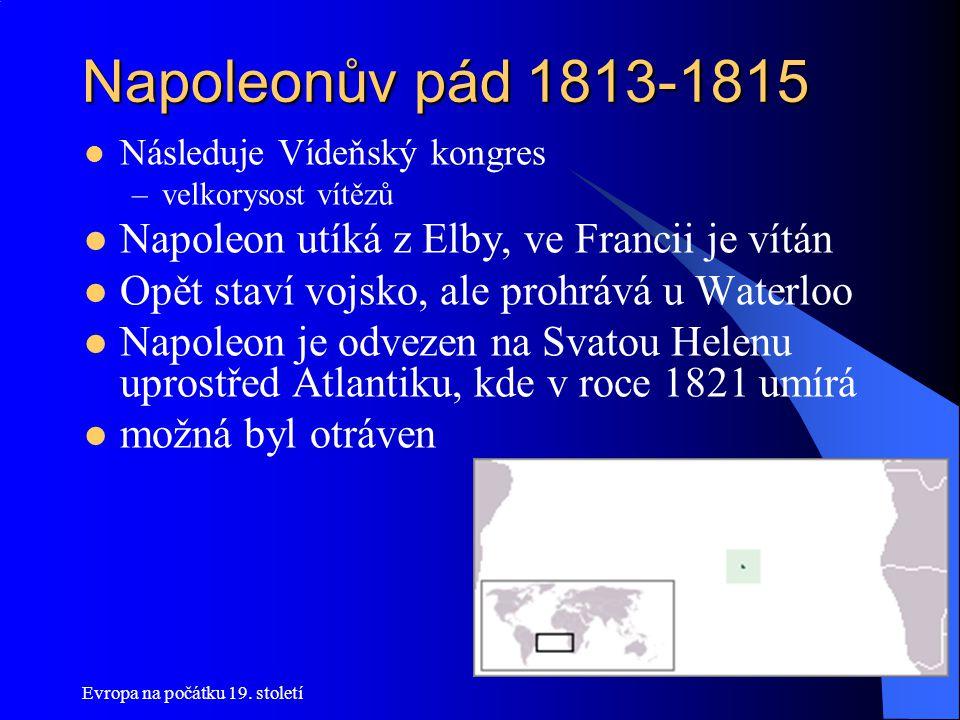 Napoleonův pád 1813-1815 Napoleon utíká z Elby, ve Francii je vítán