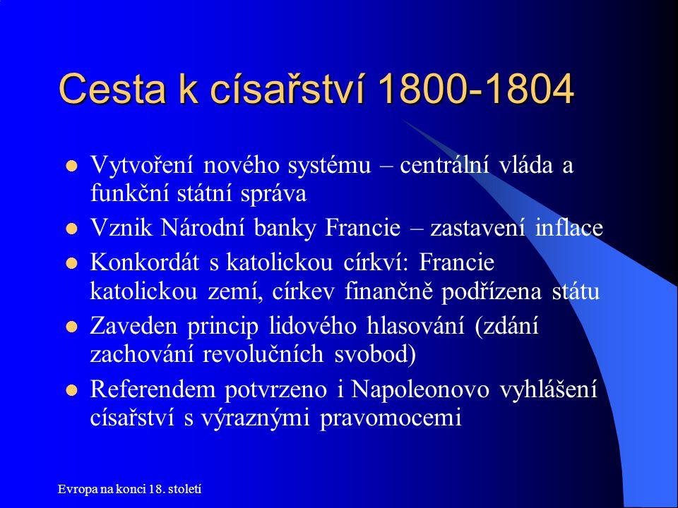 Cesta k císařství 1800-1804 Vytvoření nového systému – centrální vláda a funkční státní správa. Vznik Národní banky Francie – zastavení inflace.