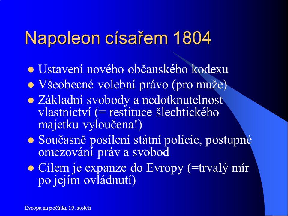 Napoleon císařem 1804 Ustavení nového občanského kodexu