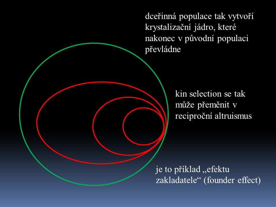 dceřinná populace tak vytvoří krystalizační jádro, které nakonec v původní populaci převládne