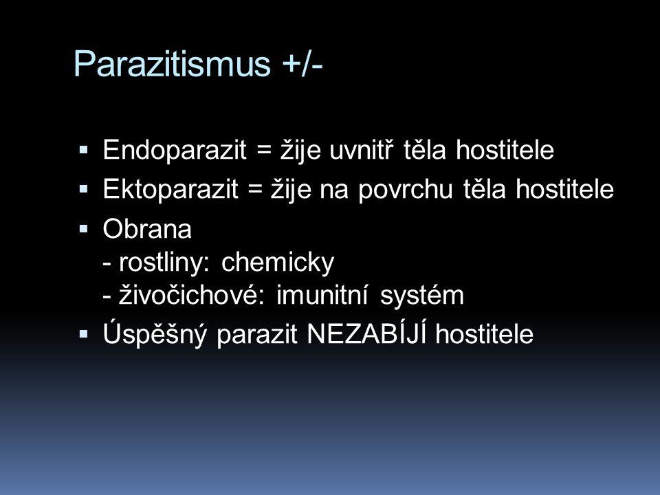 Parazitismus +/- Endoparazit = žije uvnitř těla hostitele